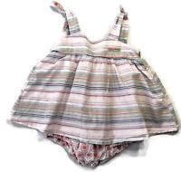 Naartjie Baby Girls 6-12 Months Purple Lavender Stripe Orange Floral Dress
