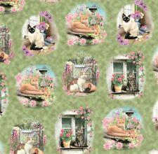 Fancy Felines Cats Green Stoffe Katzen Patchwork Baumwollstoff Tiermotive Tiere