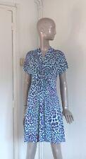 UNGARO FEVER robe style leopard turquoise, bleu et violet sans manche T 38/40