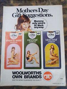 Woolworths Vintage Print Ad kraft on back