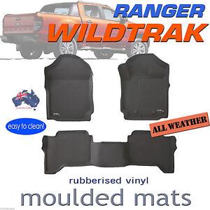 Fit Ford Ranger Wildtrak PX PX2 PX3 Genuine 3D BLACK Rubber Floor Mats 2011-2021