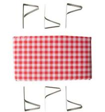 """Stansport Red White Checked Tablecloth 54"""" X 72"""" Plus 6 Clamps Picnic BBQ NEW"""