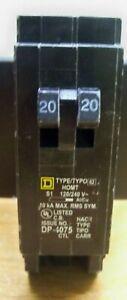 NEW SQUARE D HOMT2020 MINI TWIN 1 POLE TANDUM 20 AMP CIRCUIT BREAKER 1STCLS S&h