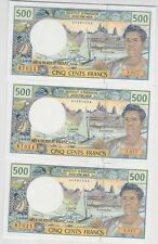 More details for three p1h consecutive french pacific territories 500 francs banknotes.