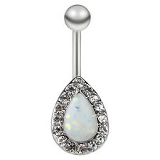1pc Teardrop 14G Imitation Opal Stone Piercing Belly Button Rings  Body Jewelry