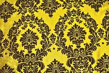 "Yellow Black Flocking Damask Taffeta Velvet Fabric 58"" Flocked Decor"