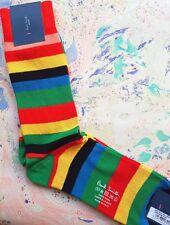 Paul Smith Mens Italian Socks Mali Stripe Multi K428 Cotton Wool Cashmere 1-Size