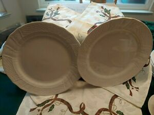 "(2) MIKASA Renaissance White- 12"" chop plates (round platter)"