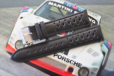 21mm European Hand-Made Rally Racing Quality Leather Watch Strap Black Band