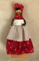 """Vintage 1980's 5"""" Wood Clothes Pin Doll Red White Dress Face & Pipecleaner Hands"""