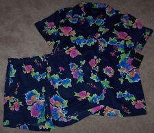 NWT Ralph Lauren Navy Blue FLORAL Pajamas SHORTS/Top Set S LIGHTWEIGHT Pink