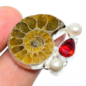 Ammonite - Fossil & Pearl Gemstone 925 Sterling Silver Boho Ring s.9 F2598