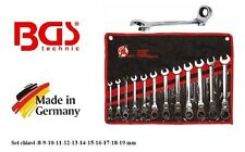 Serie 12 chiavi combinate a cricchetto snodate 6-19 mm Bgs 30002