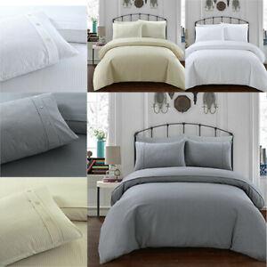 Waffle Reversible Duvet Cover & Pillowcases %100 Polycotton Luxury Bedding Set