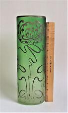 "LARGE Carl GOLDBERG 13"" SILVER MUMS Green Art Nouveau BOHEMIAN Czech Glass VASE"