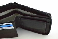 Mens Genuine Cowhide Leather Wallet Credit Card Slot Billfold Zip Around Black