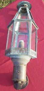 Vintage Brass Copper Exterior Outdoor Lantern Light Sconce Lamp Original Glass