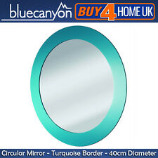 Blue Canyon Turquoise Edge Round Bathroom Mirror - Wall Mounted 40cm Circle