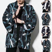 Womens Mens Japanese Bath Dressing Gown Floral Hippy Floral Kimono Cardigan Tops