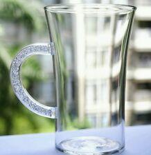 New Glass Coffee Latte Cappuccino Mug with Swarovski Filled Handle