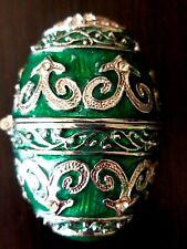 Emerald Green Enamel Pave' Rhinestone Accent Vintage Hinged Egg Trinket Box