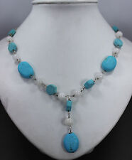 Large Turquoise & White Quarts Sterling Silver Necklace
