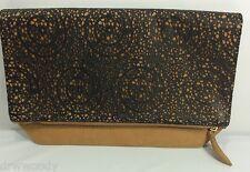 NEW HEATHER BELLE KATHARINE Foldover Handbag Clutch Mustard W/Black Lace Overlay