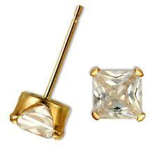 1.5ctw Princess Diamond Alternatives Stud Earrings Square Solid 10k Yellow Gold