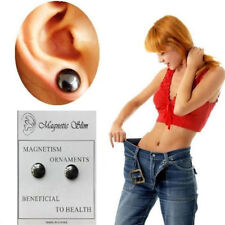 Women Black Magnet Ear Studs Earring Acupoint Health Care Weight Loose Slim Body