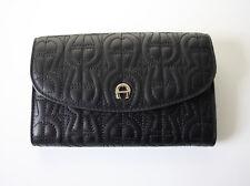 Aigner Purse Big Wallet Leather Black