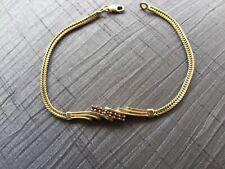 Beautiful Vintage Ruby 9ct Gold bracelet - foxtail links. excellent Condition