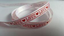 "3m Printed Ribbon - Grosgrain - ""Love"" - Red & White - 9mm"
