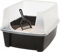 Open Top Cat Litter Box with Shield and Scoop, Black