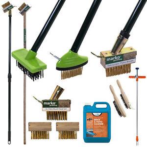 Patio Weed Brushes Wire Brush Block Paving Garden Weed Scraper Telescopic Wooden