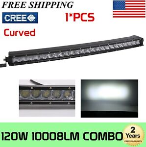 """25inch 120W Curved Single Row LED Light Bar for Jeep GMC ATV Truck Ford Boat 24"""""""