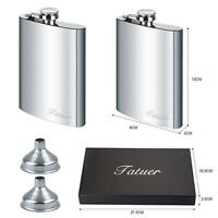 2pcs Stainless Steel Hip Flask Funnel Set for Men Whiskey Vodka Silver (8 oz)