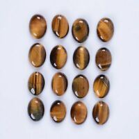 A PAIR OF 10x8mm OVAL CABOCHON-CUT NATURAL AFRICAN GOLDEN TIGERS EYE GEMSTONES