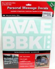 62829 UPPER CASE LETTERS PERSONAL MESSAGE DECAL STICKER SHEET WHITE ARIAL CUSTOM