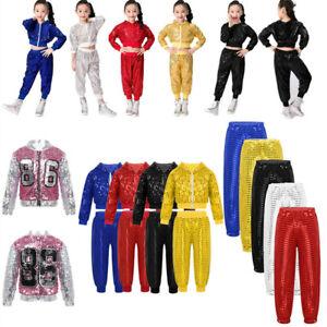 Girls Modern Jazz Sequins Dance Outfits Pants Tops Kids Hip Hop Street Dancewear