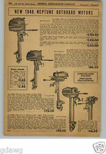 1948 PAPER AD Neptune Outboard Motor 10 HP 7 5 Twin 3.3 Single 1.7 HP Single