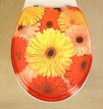 Toilet Seat Funky Pink & Yellow Gerbera Flower Design Novelty