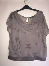MINT VELVET GREY SILK TOP UK SIZE 14