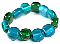 Green & Turquoise Lampwork glass bead stretch bracelet