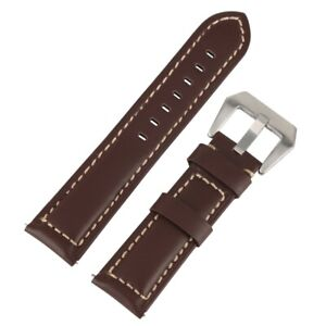 Black/Brown 20/22/24/26mm Smooth Leather Watch Band Strap Replacement Bracelet
