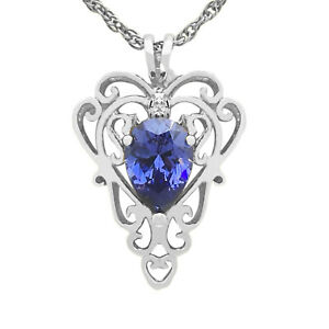 2.53Ct Natural Royal Blue Tanzanite Pear Shape Pendant In 925 Sterling Silver