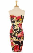 KAREN MILLEN BLACK PINK ORIENTAL FLORAL STRAPLESS PENCIL DRESS 14  42 US 10