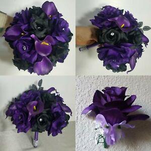 Black Purple Rose Calla Lily Bridal Wedding Bouquet & Accessories