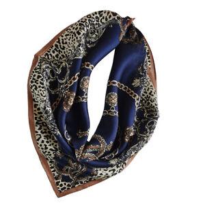 Unisex 100% Silk Scarf Square Leopard Neckerchief Hair Wraps Silky Nourish Skin