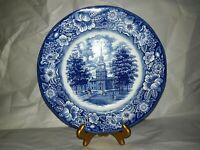 Staffordshire Ironstone Plate Liberty Blue Independence Hall Plate 9 3/4 inch