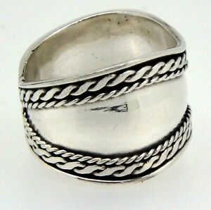 Bali Handmade BAND Ring in 925 Sterling Silver (Size P, Q or U)